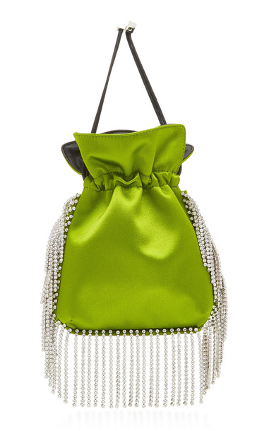 Les Petits Joueurs Nano Trilly Crystal Embroidered Satin Bag in green