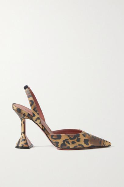 Amina Muaddi - Holli Leopard-print Satin Slingback Pumps - Leopard print
