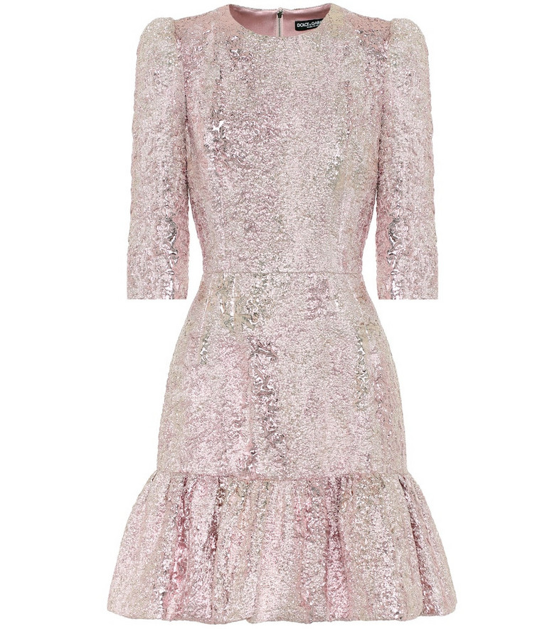 Dolce & Gabbana Lamé jacquard minidress in pink
