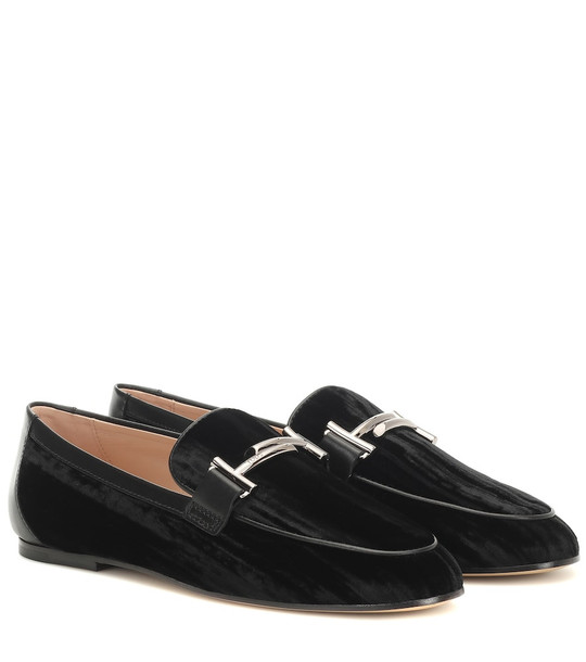 Tod's Double T crushed-velvet loafers in black