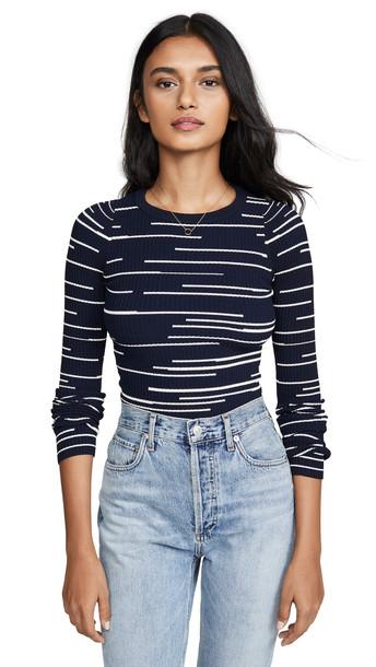 Autumn Cashmere Broken Stripe Crew Sweater in navy / cream