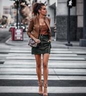 fashionedchic,blogger,jacket,shirt,skirt,shoes,bag,leather skirt,mini skirt,booties,Open toes booties