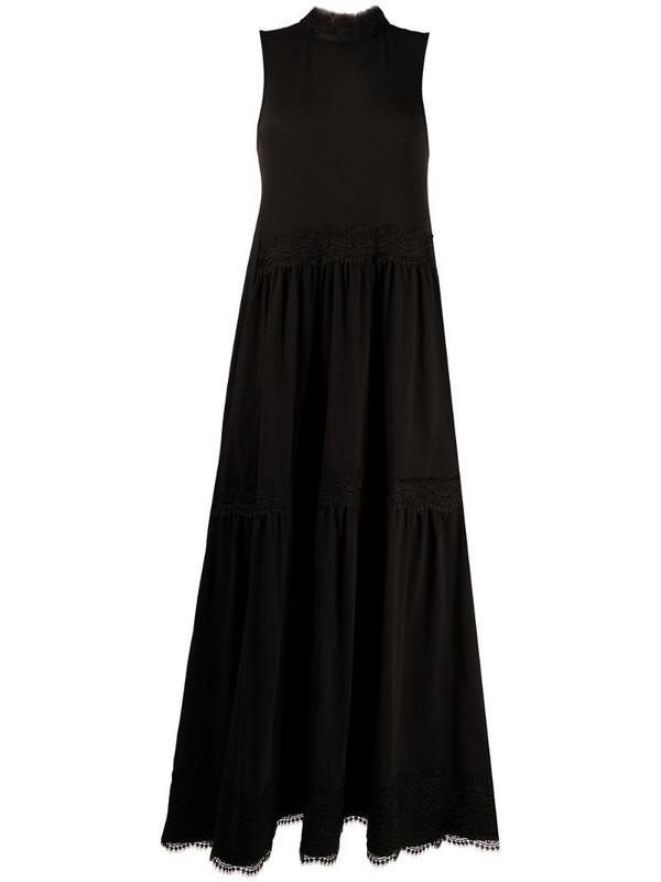 AllSaints lace-trimmed A-line dress in black