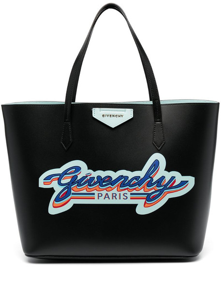 Givenchy logo-print leather tote bag in black