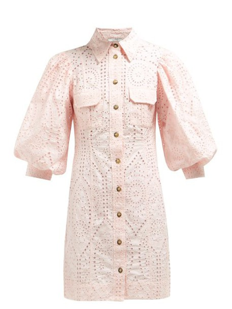 Ganni - Sandrose Broderie Anglaise Cotton Mini Dress - Womens - Light Pink
