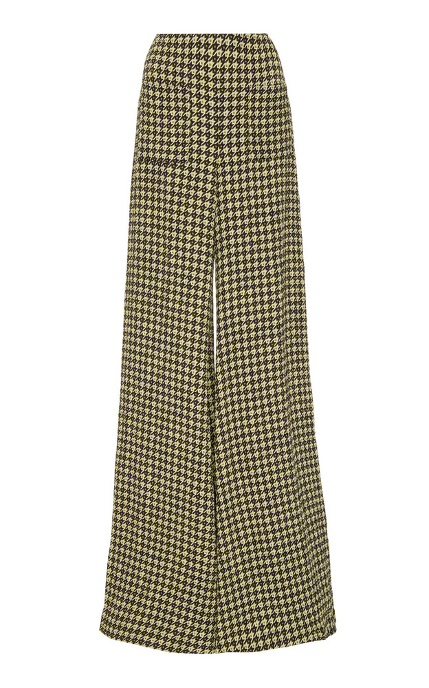 Hellessy Luc Printed Silk-Jersey Wide-Leg Pants in green