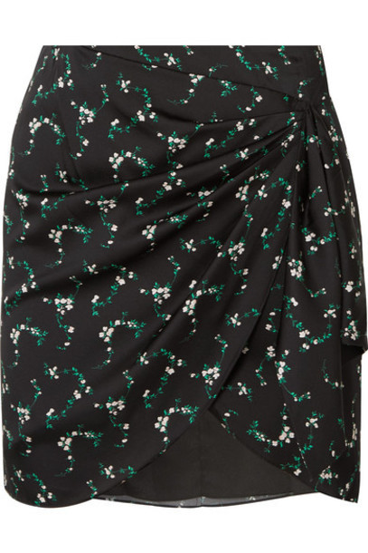 Caroline Constas - Koren Gathered Floral-print Silk-blend Mini Skirt - Black