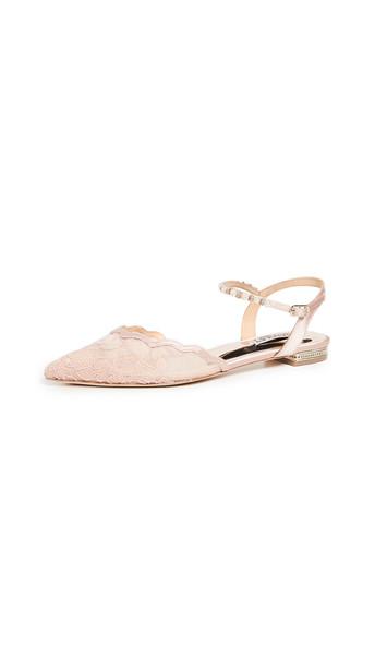 Badgley Mischka Lennon Ankle Strap Flats in blush