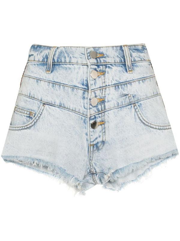AMIRI embroidered stripe denim shorts in blue