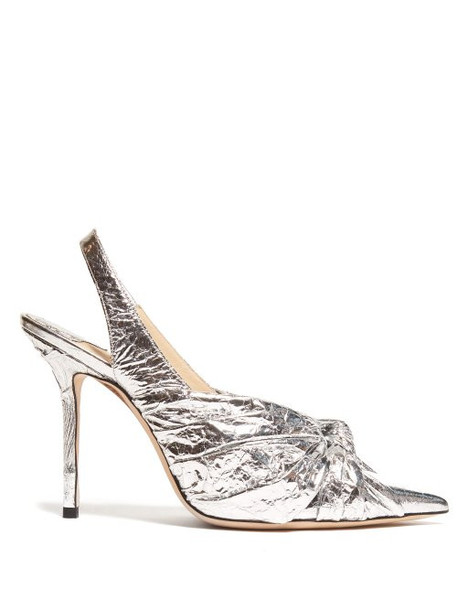 Jimmy Choo - Annabelle 85 Knotted Leather Pumps - Womens - Silver
