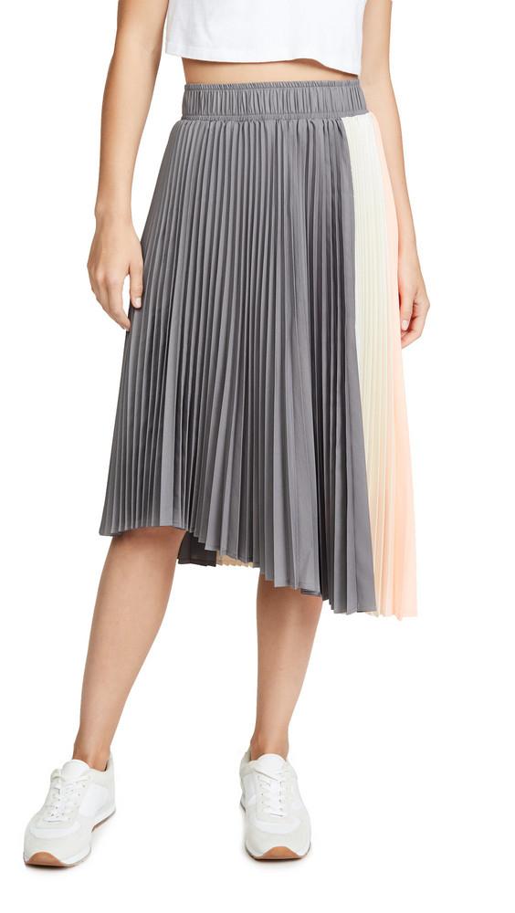 Clu Paneled Pleated Skirt in grey / orange