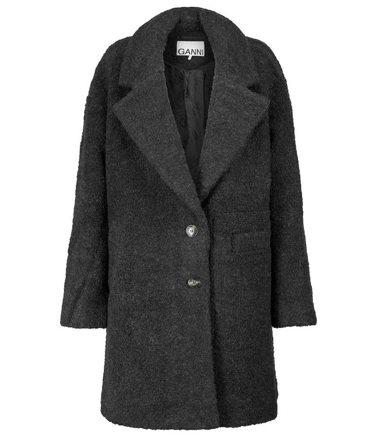 GANNI Textured wool-blend coat in grey