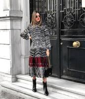 dress,midi dress,zebra print,long sleeve dress,black boots,cowboy boots,black bag