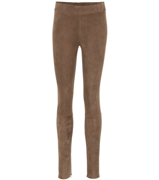 The Row Tomo suede leggings in brown