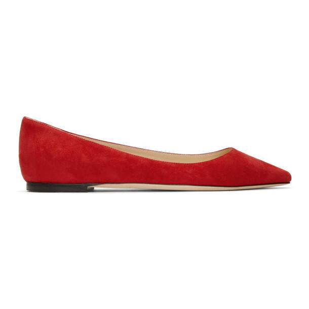 Jimmy Choo Red Suede Romy Ballerina Flats