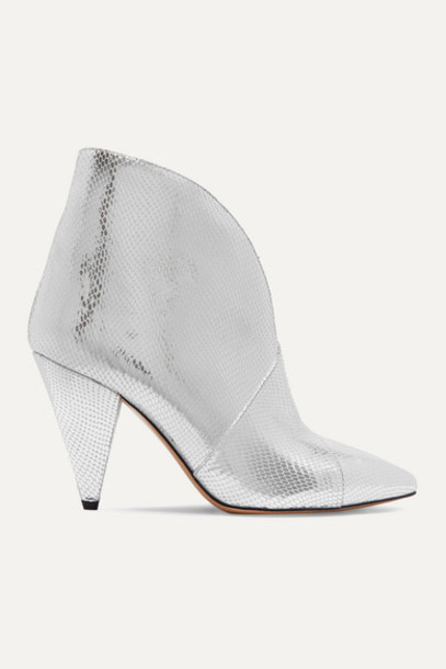 Isabel Marant - Archenn Metallic Lizard-effect Leather Ankle Boots - Silver