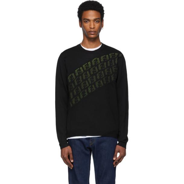 Fendi Black & Green Wool 'Forever Fendi' Asymmetric Logo Sweater