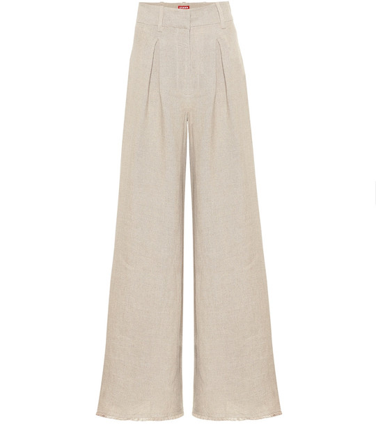 Staud High-rise flared linen pants in beige