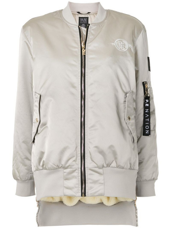 P.E Nation logo patch bomber jacket in silver