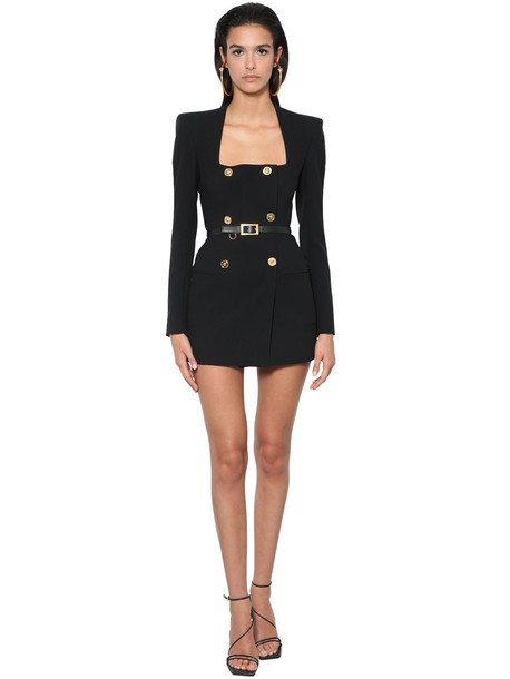VERSACE Enver Satin Double Breasted Jacket Dress in black