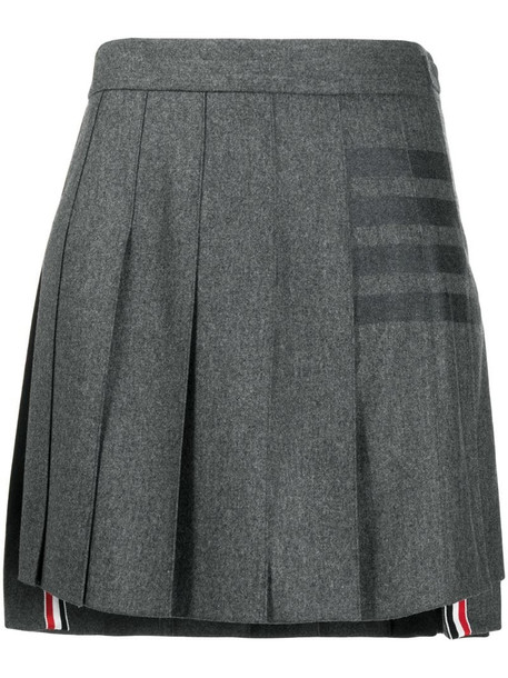 Thom Browne 4-Bar print pleated mini skirt in grey