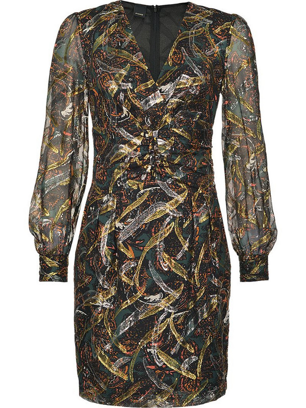 Pinko abstract patterned sheer sleeve dress in black