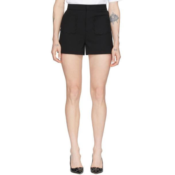 RED Valentino Black Cady Front Pockets Shorts