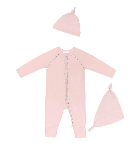 Burberry Kids Baby cotton onesie, hat and bib set in pink