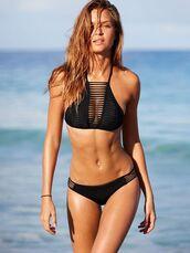 swimwear,strappy,bikini,bikini top,black,black bikini,black bikini top,strappy bikini,strappy top,black swimwear