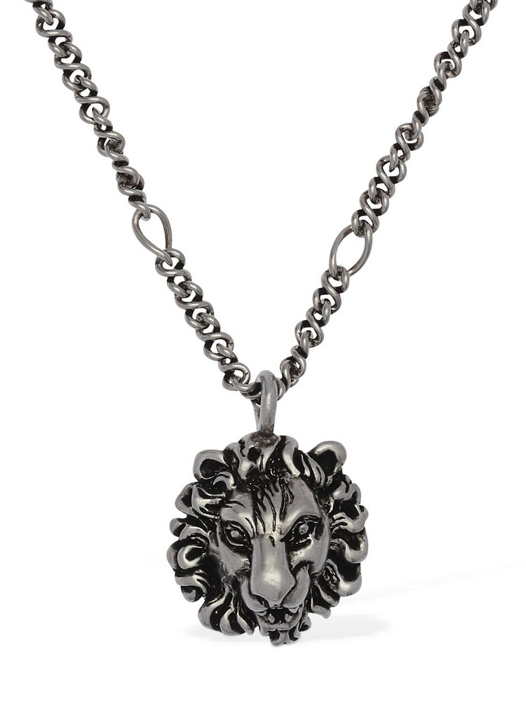 GUCCI Lionhead Long Chain Necklace in silver