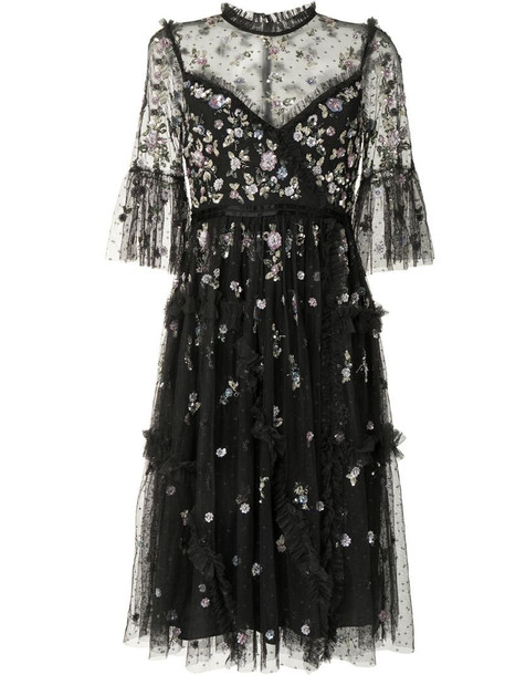 Needle & Thread sequin-flower embroidery tulle dress in black