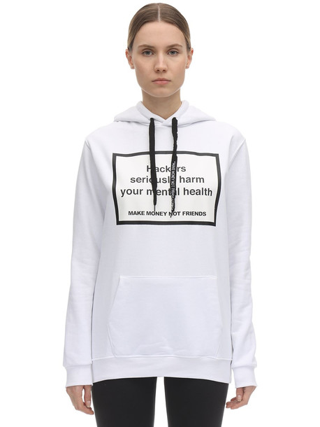 MAKE MONEY NOT FRIENDS Cotton Printed Hackers Sweatshirt Hoodie in white
