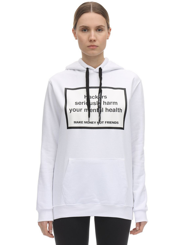 MAKE MONEY NOT FRIENDS Cotton Printed Hackers Sweatshirt Hoodie in white