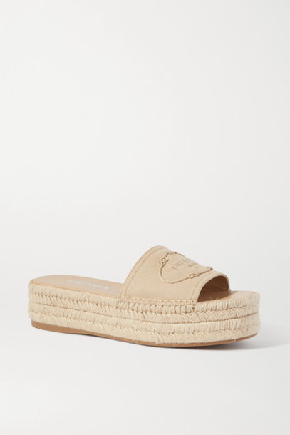 Prada - Logo-embroidered Canvas Wedge Espadrilles - Neutral
