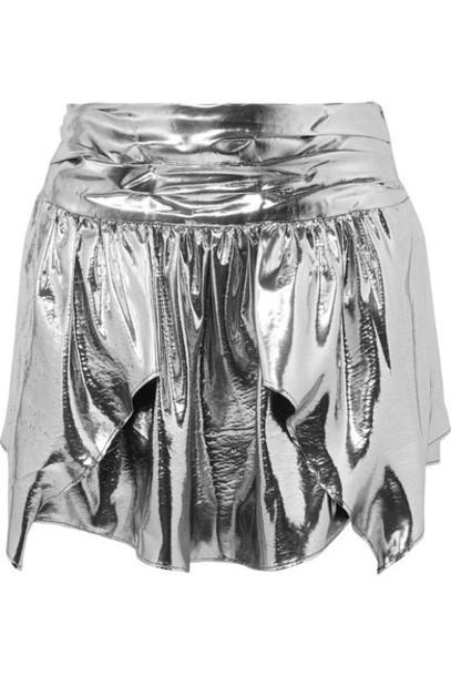 Isabel Marant - Kira Metallic Silk-blend Mini Skirt - Silver