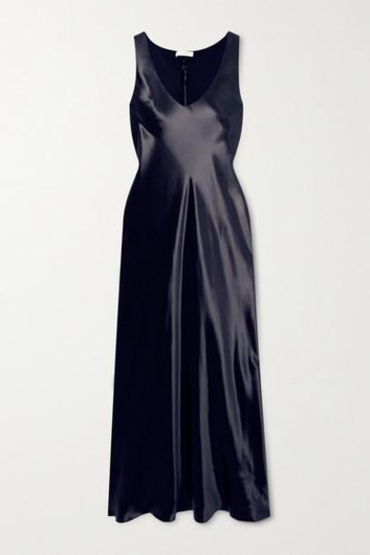 The Row - Natasha Satin Maxi Dress - Navy