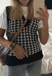 sweater,checkers vest