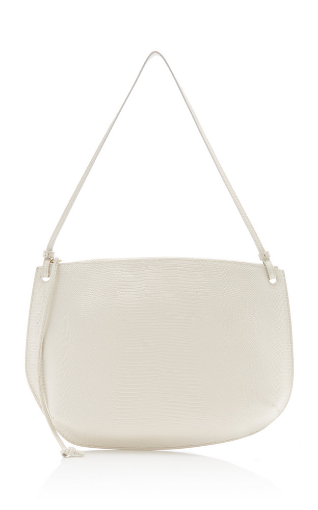 Little Liffner Pebble Large Lizard-Embossed Leather Shoulder Bag in white