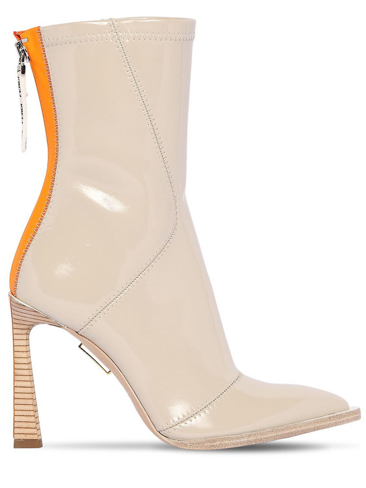 FENDI 85mm Faux Patent Leather Ankle Boots in grey