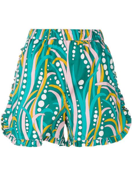 La Doublej ruched ruffle shorts in green