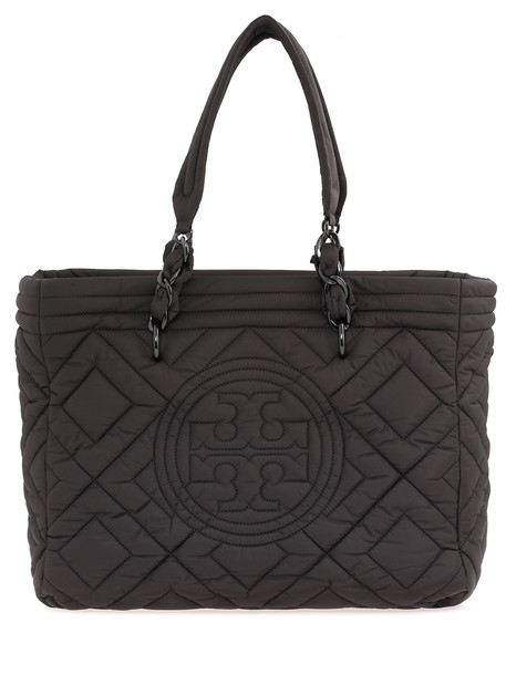 Tory Burch Fleming Quilted Nylon Tote in black