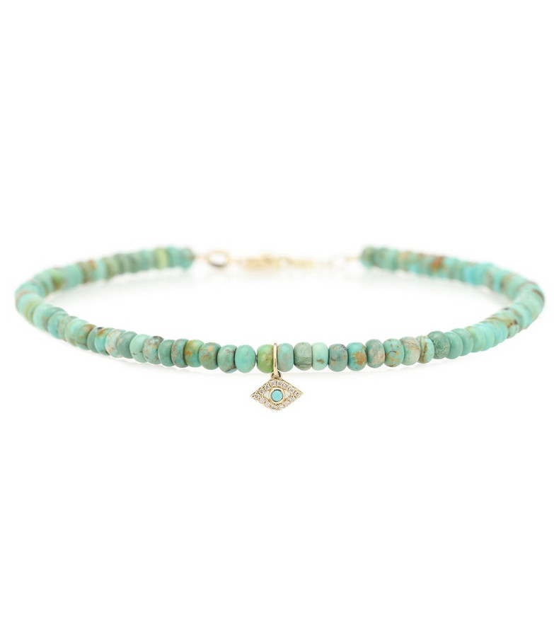 Sydney Evan Exclusive to Mytheresa – Evil Eye 14kt gold, turquoise and diamond bracelet in blue