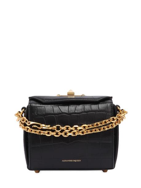 ALEXANDER MCQUEEN Box 16 Croc Embossed Leather Bag in black