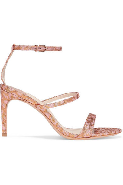 Sophia Webster - Rosalind Leopard-print Glittered Lurex Sandals - Pink