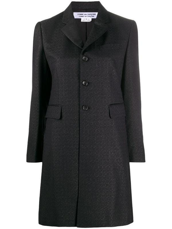Comme Des Garçons Comme Des Garçons single-breasted metallic coat in black