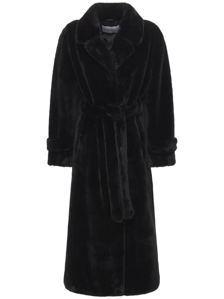 STAND STUDIO Paula Velvety Faux Fur Coat in black