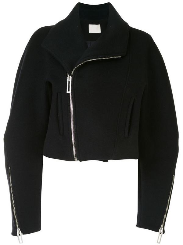 Dion Lee cropped wool biker jacket in black