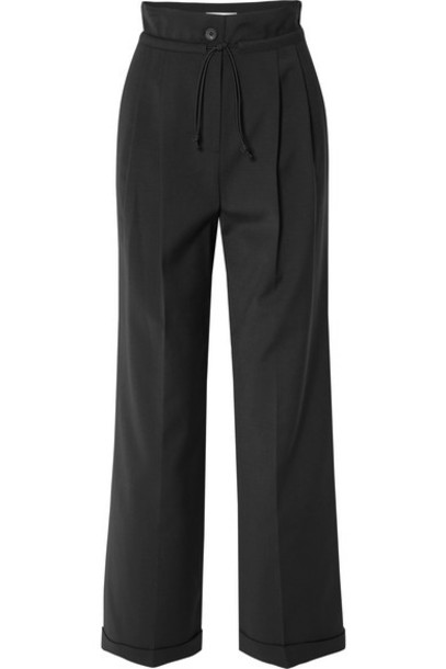LE 17 SEPTEMBRE - Pleated Woven Wide-leg Pants - Black