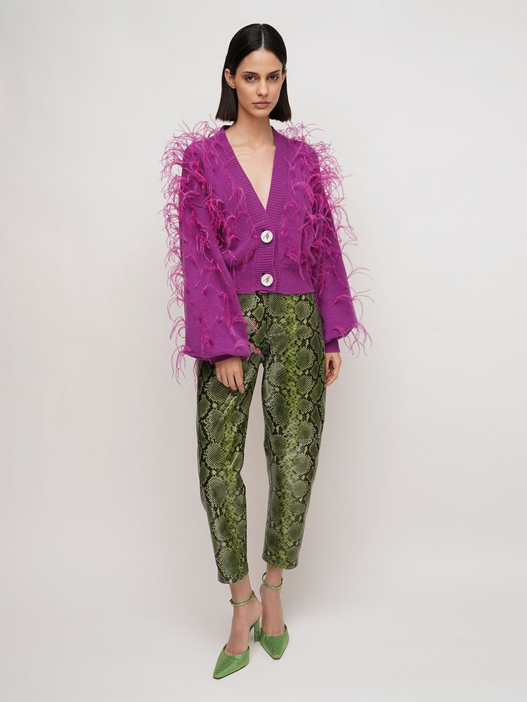 THE ATTICO Python Print Slouchy Leather Pants in black / green
