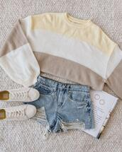 shorts,jewels,sweater,shoes